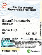 A single trip ticket for Berlin to Potsdam